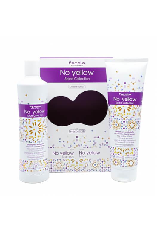 Fanola No Yellow Spice Collection set - sada šampón No Yellow 350 ml + maska No Yellow 300 ml s vôňou škorice a klinčekov