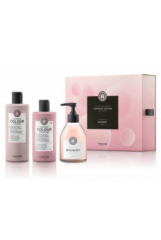 Maria Nila Luminous Colour darčeková sada šampón 350 ml + kondicionér 300 ml + tekuté mydlo Bouquet 300 ml