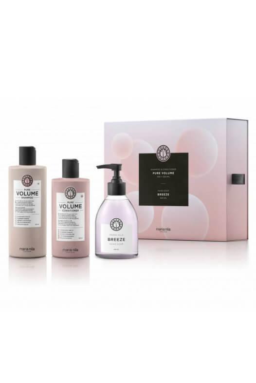 Maria Nila Pure Volume darčeková sada šampón 350 ml + kondicionér 300 ml + tekuté mydlo Breeze 300 ml