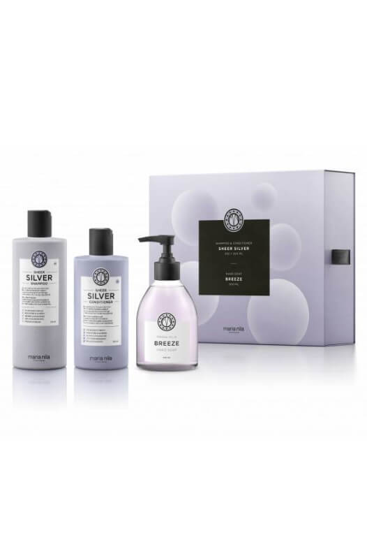 Maria Nila Sheer Silver darčeková sada šampón 350 ml + kondicionér 300 ml + tekuté mydlo Breeze 300 ml