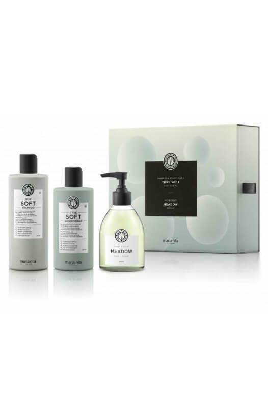 Maria Nila True Soft darčeková sada šampón 350 ml + kondicionér 300 ml + tekuté mydlo Meadow 300 ml